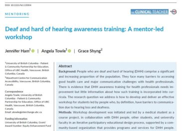 New Publication: Deaf and hard of hearing awareness training